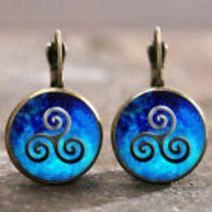 Blue Swirl Lever Back Earrings